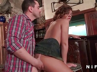 French Swinger Teen Brunette Anal Fucked In A Bar