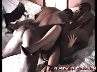 Velvet Swingers Club Vintage Interracial Gangbang Party