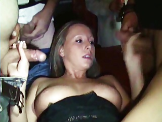GERMAN GIRL GETS A LOT OF CUM AND CUMSHOTS IN PORN THEATER!